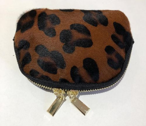 Leather Animal Print Purse/Make Up Bag - Dark Leopard